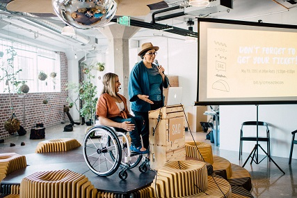 alycia with her friend rebecca plumb at the creative mornings speech she delivered at the hive in downtown sacramento