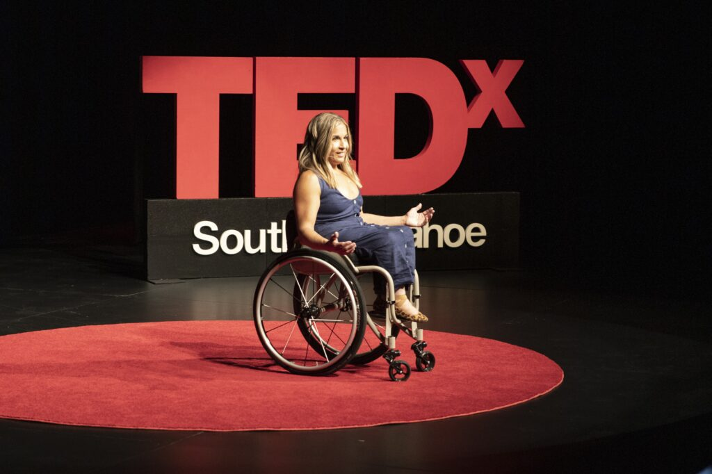 Alycia at the TEDx South Lake Tahoe on May 15 2021